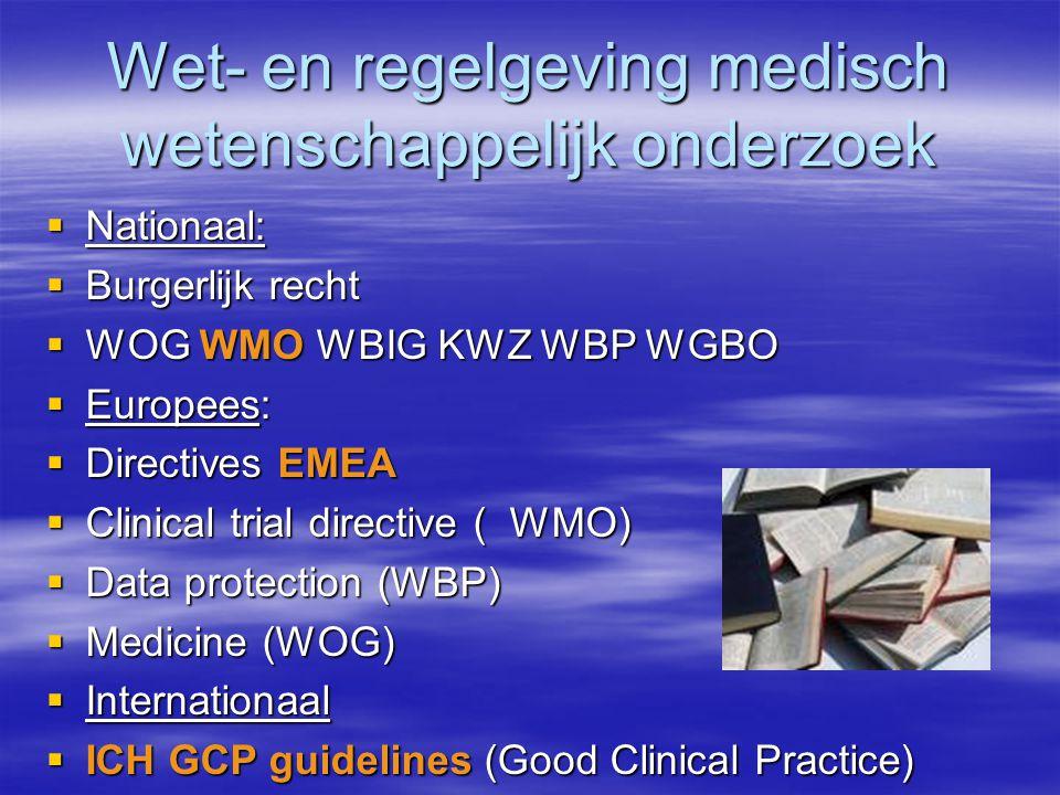 Wet- en regelgeving medisch wetenschappelijk onderzoek  Nationaal:  Burgerlijk recht  WOG WMO WBIG KWZ WBP WGBO  Europees:  Directives EMEA  Clinical trial directive ( WMO)  Data protection (WBP)  Medicine (WOG)  Internationaal  ICH GCP guidelines (Good Clinical Practice)