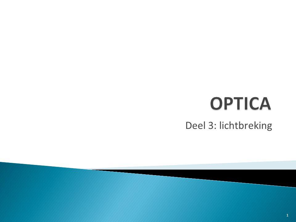 kennis  de invallende straal, de gebroken straal en de normaal liggen in één vlak, loodrecht op het scheidingsoppervlak  bij overgang van optisch ijler naar optisch dichter is er een breking naar de normaal toe.