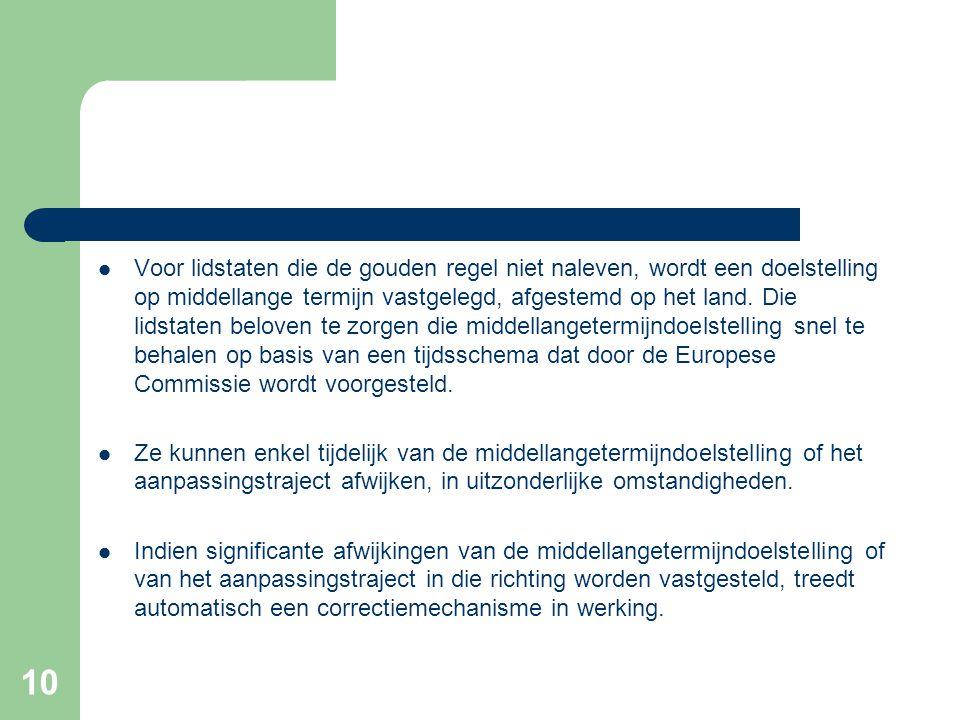 10  Voor lidstaten die de gouden regel niet naleven, wordt een doelstelling op middellange termijn vastgelegd, afgestemd op het land.
