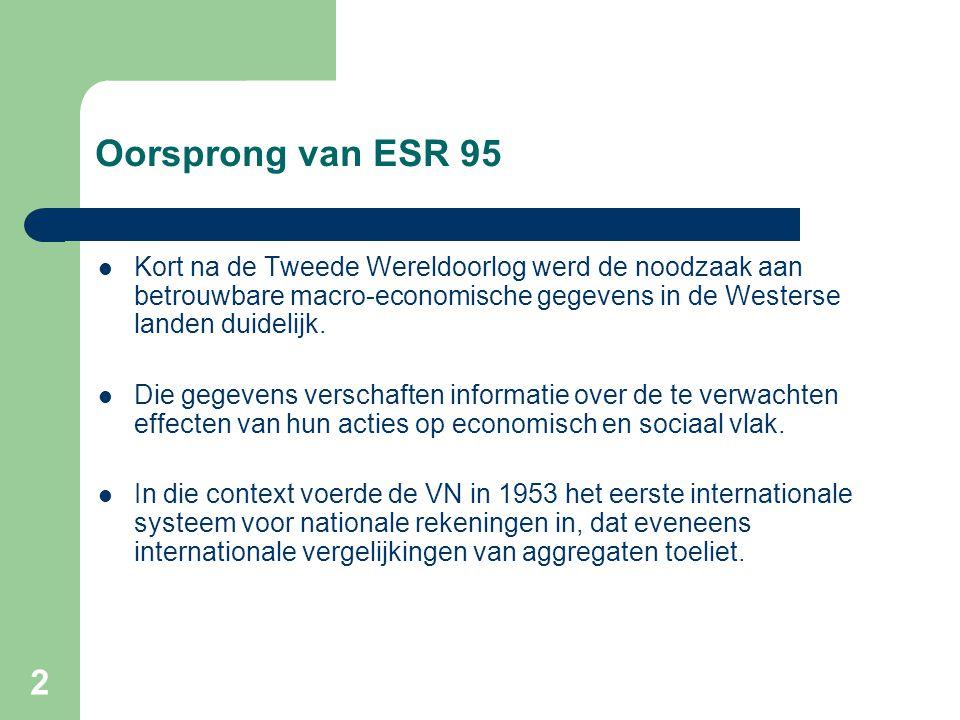 2 Oorsprong van ESR 95  Kort na de Tweede Wereldoorlog werd de noodzaak aan betrouwbare macro-economische gegevens in de Westerse landen duidelijk.