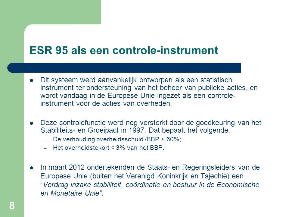 8 ESR 95 als een controle-instrument  Dit systeem werd aanvankelijk ontworpen als een statistisch instrument ter ondersteuning van het beheer van publieke acties, en wordt vandaag in de Europese Unie ingezet als een controle- instrument voor de acties van overheden.