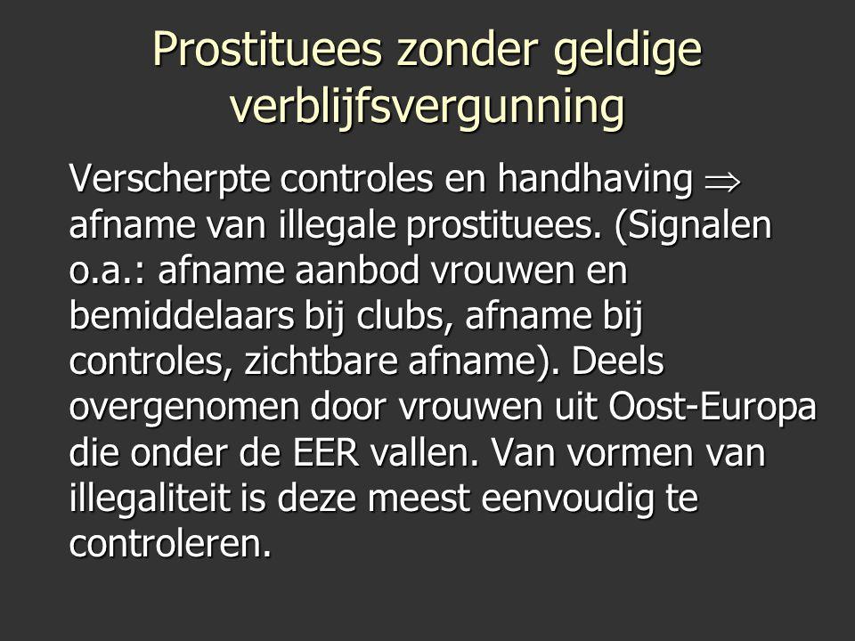Prostituees zonder geldige verblijfsvergunning Verscherpte controles en handhaving  afname van illegale prostituees. (Signalen o.a.: afname aanbod vr