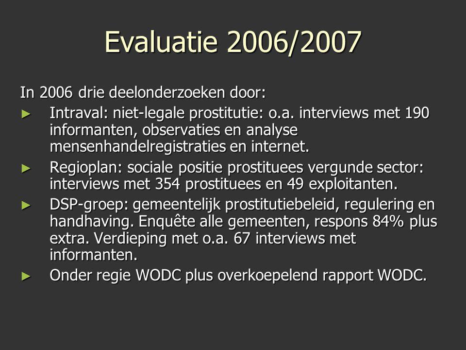 Evaluatie 2006/2007 In 2006 drie deelonderzoeken door: ► Intraval: niet-legale prostitutie: o.a. interviews met 190 informanten, observaties en analys