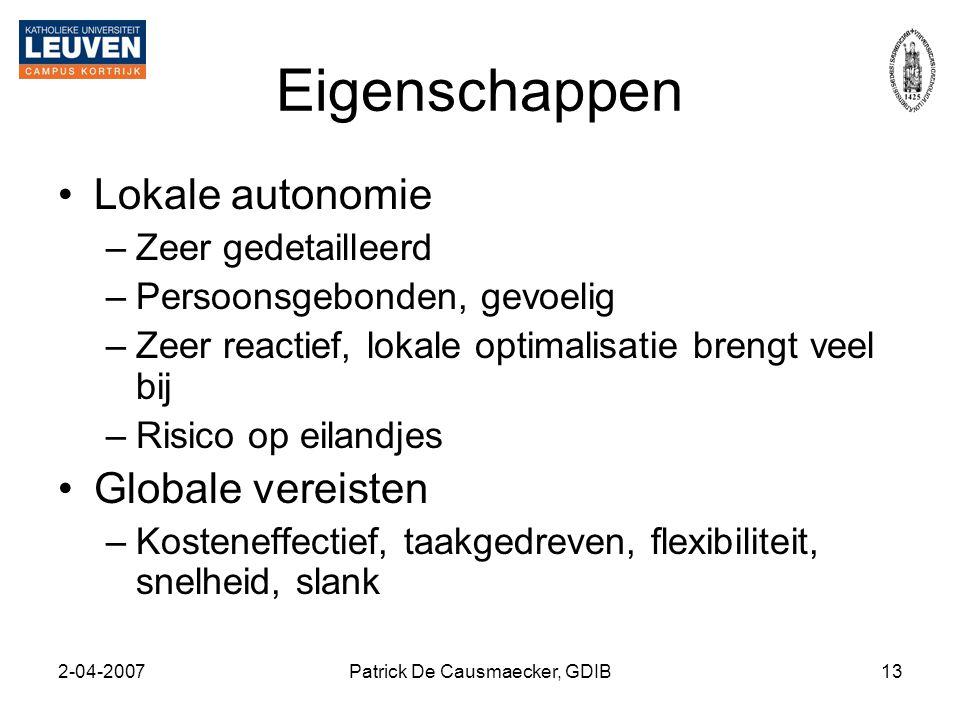 2-04-2007Patrick De Causmaecker, GDIB13 Eigenschappen •Lokale autonomie –Zeer gedetailleerd –Persoonsgebonden, gevoelig –Zeer reactief, lokale optimal