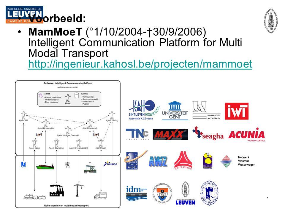 2-04-2007Patrick De Causmaecker, GDIB17 •Voorbeeld: •MamMoeT (°1/10/2004-†30/9/2006) Intelligent Communication Platform for Multi Modal Transport http