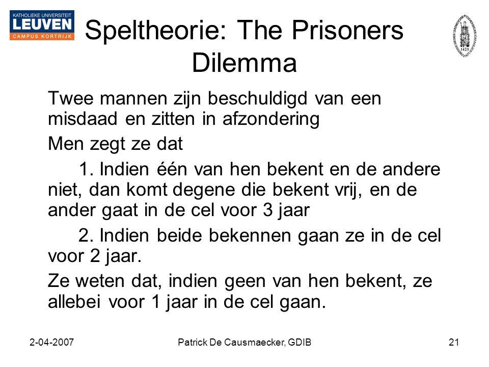 2-04-2007Patrick De Causmaecker, GDIB21 Speltheorie: The Prisoners Dilemma Twee mannen zijn beschuldigd van een misdaad en zitten in afzondering Men z