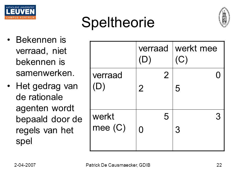 2-04-2007Patrick De Causmaecker, GDIB22 Speltheorie •Bekennen is verraad, niet bekennen is samenwerken. •Het gedrag van de rationale agenten wordt bep