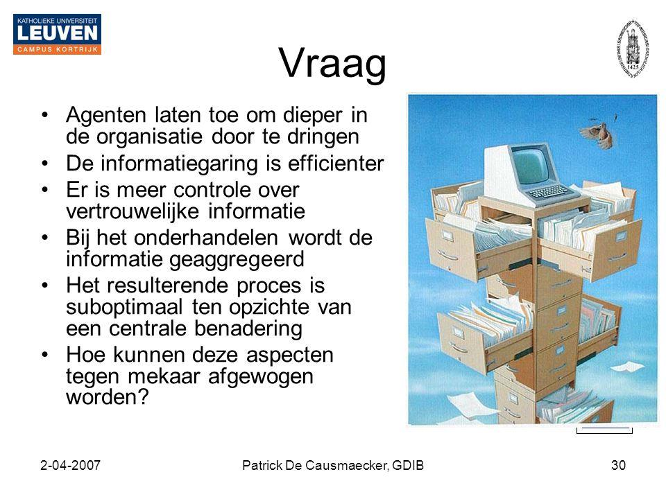 2-04-2007Patrick De Causmaecker, GDIB30 Vraag •Agenten laten toe om dieper in de organisatie door te dringen •De informatiegaring is efficienter •Er i