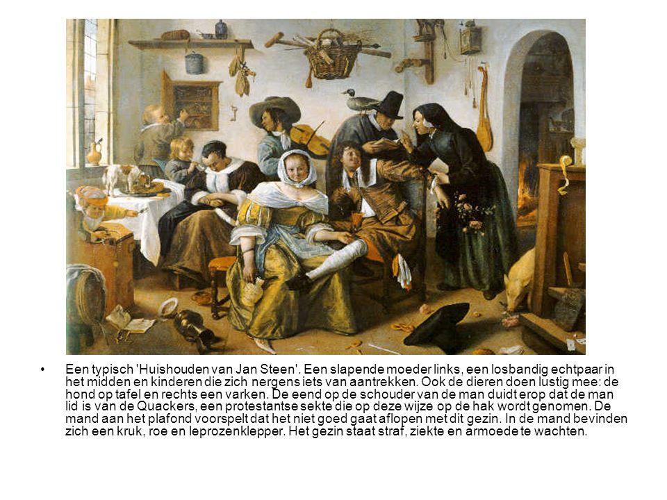 •Een typisch 'Huishouden van Jan Steen'. Een slapende moeder links, een losbandig echtpaar in het midden en kinderen die zich nergens iets van aantrek