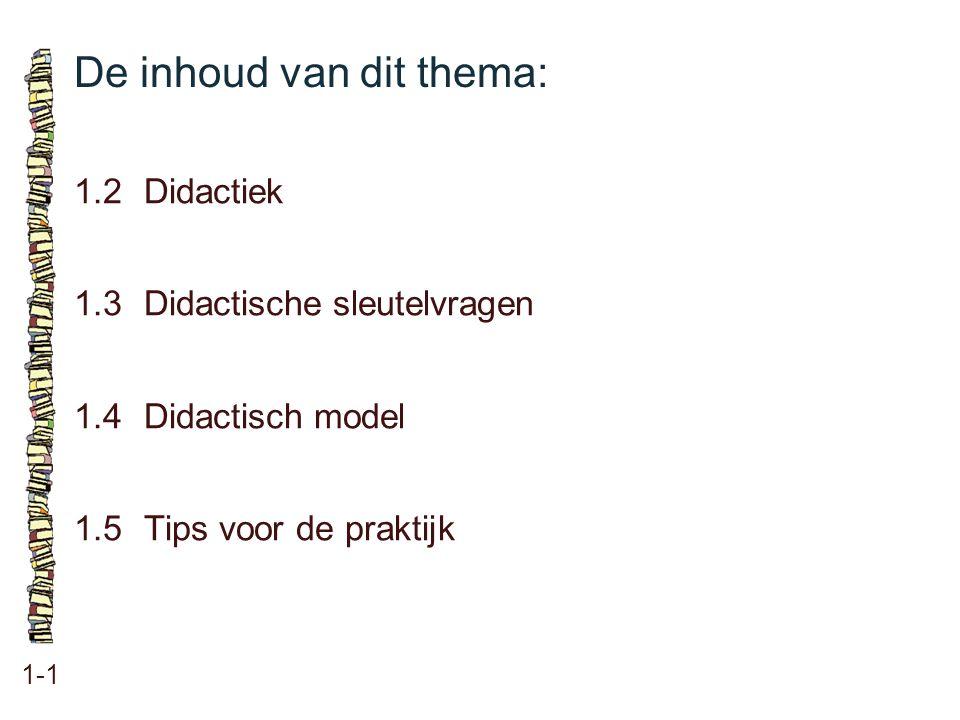 De inhoud van dit thema: 1-1 1.2Didactiek 1.3Didactische sleutelvragen 1.4Didactisch model 1.5Tips voor de praktijk
