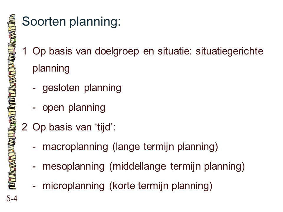 Soorten planning: 5-4 1Op basis van doelgroep en situatie: situatiegerichte planning -gesloten planning -open planning 2Op basis van 'tijd': -macropla