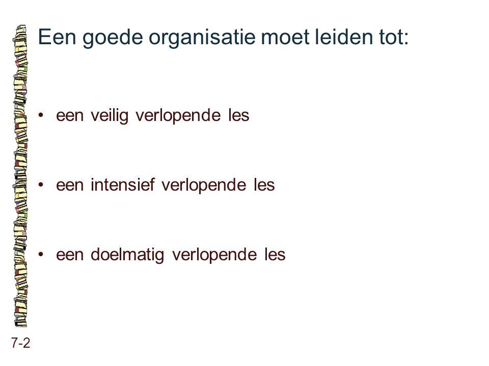 Een goede organisatie moet leiden tot: 7-2 •een veilig verlopende les •een intensief verlopende les •een doelmatig verlopende les