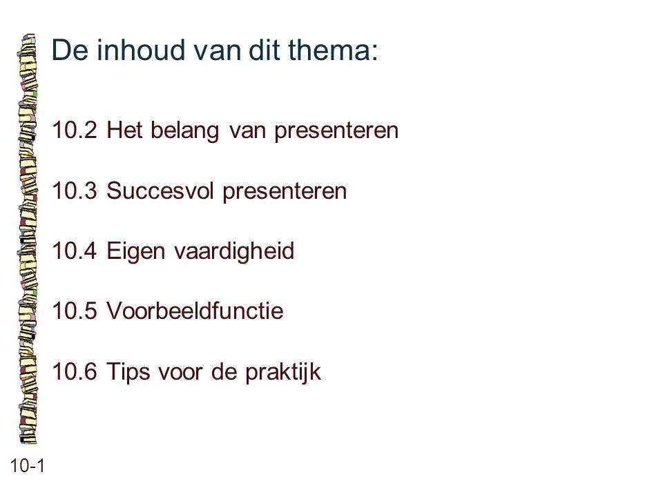 De inhoud van dit thema: 10-1 10.2Het belang van presenteren 10.3Succesvol presenteren 10.4 Eigen vaardigheid 10.5 Voorbeeldfunctie 10.6 Tips voor de