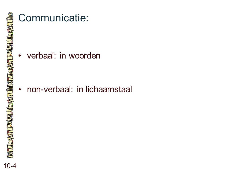 Communicatie: 10-4 •verbaal: in woorden •non-verbaal: in lichaamstaal
