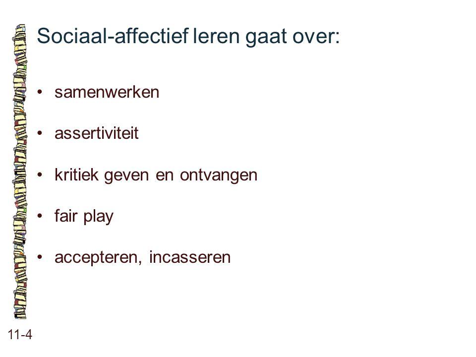 Sociaal-affectief leren gaat over: 11-4 •samenwerken •assertiviteit •kritiek geven en ontvangen •fair play •accepteren, incasseren