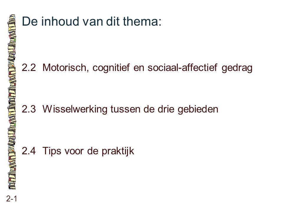 De inhoud van dit thema: 2-1 2.2 Motorisch, cognitief en sociaal-affectief gedrag 2.3 Wisselwerking tussen de drie gebieden 2.4Tips voor de praktijk