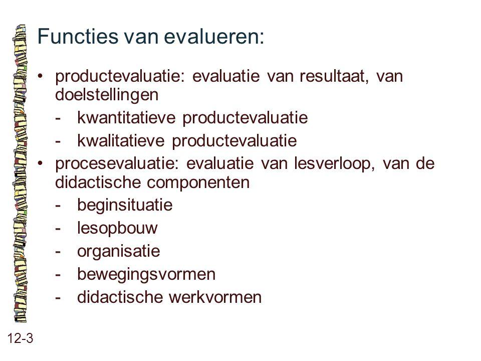 Functies van evalueren: 12-3 •productevaluatie: evaluatie van resultaat, van doelstellingen -kwantitatieve productevaluatie -kwalitatieve productevalu