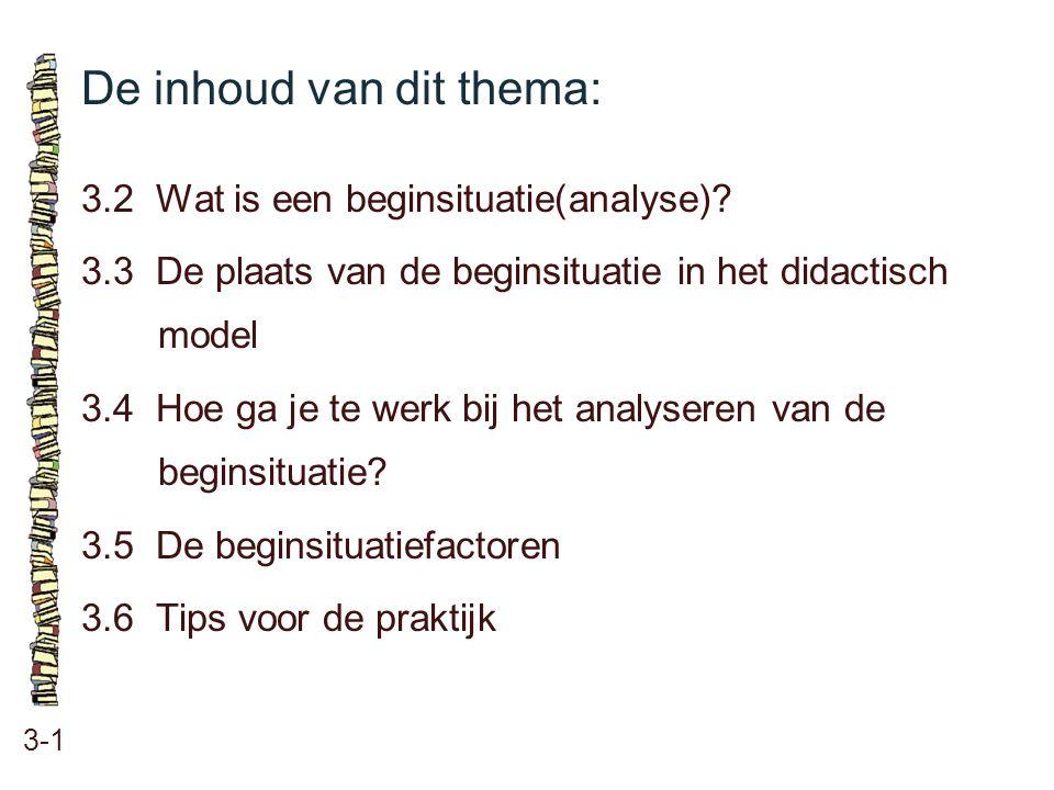 De inhoud van dit thema: 3-1 3.2 Wat is een beginsituatie(analyse)? 3.3 De plaats van de beginsituatie in het didactisch model 3.4 Hoe ga je te werk b
