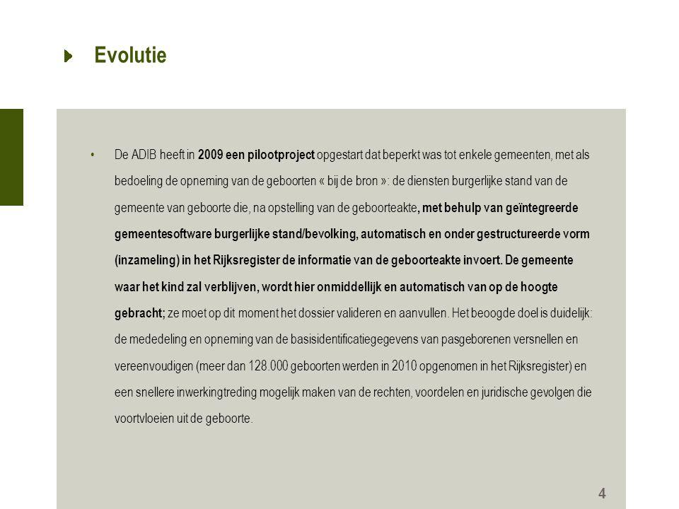 Evolutie •De ADIB heeft in 2009 een pilootproject opgestart dat beperkt was tot enkele gemeenten, met als bedoeling de opneming van de geboorten « bij