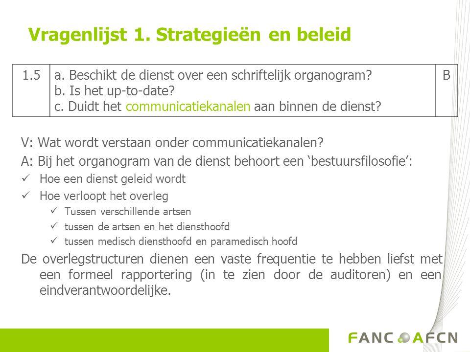 V: Wat wordt verstaan onder communicatiekanalen? A: Bij het organogram van de dienst behoort een 'bestuursfilosofie':  Hoe een dienst geleid wordt 