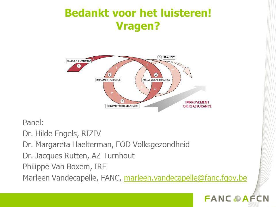 Bedankt voor het luisteren! Vragen? Panel: Dr. Hilde Engels, RIZIV Dr. Margareta Haelterman, FOD Volksgezondheid Dr. Jacques Rutten, AZ Turnhout Phili