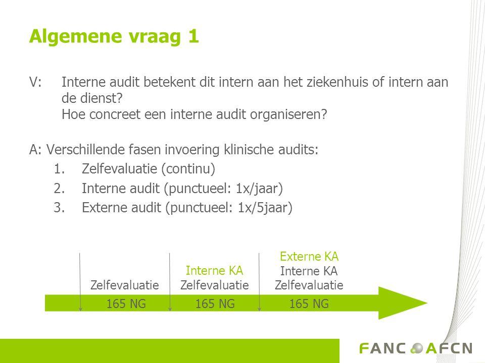 V: Interne audit betekent dit intern aan het ziekenhuis of intern aan de dienst? Hoe concreet een interne audit organiseren? A: Verschillende fasen in