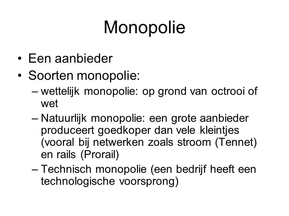 Monopolie •Een aanbieder •Soorten monopolie: –wettelijk monopolie: op grond van octrooi of wet –Natuurlijk monopolie: een grote aanbieder produceert g