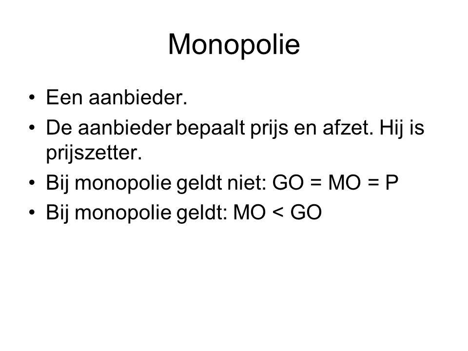 Monopolie •Een aanbieder. •De aanbieder bepaalt prijs en afzet. Hij is prijszetter. •Bij monopolie geldt niet: GO = MO = P •Bij monopolie geldt: MO <