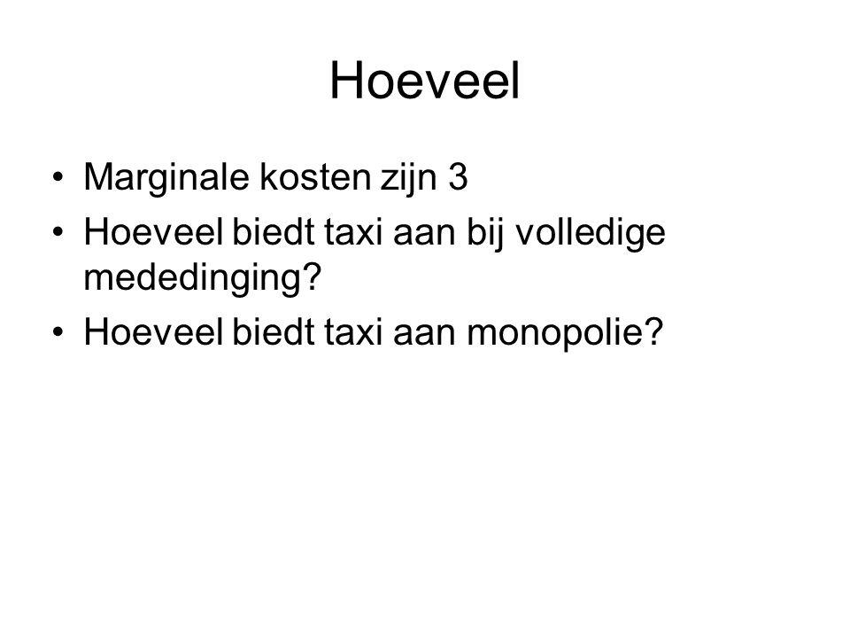 Hoeveel •Marginale kosten zijn 3 •Hoeveel biedt taxi aan bij volledige mededinging? •Hoeveel biedt taxi aan monopolie?
