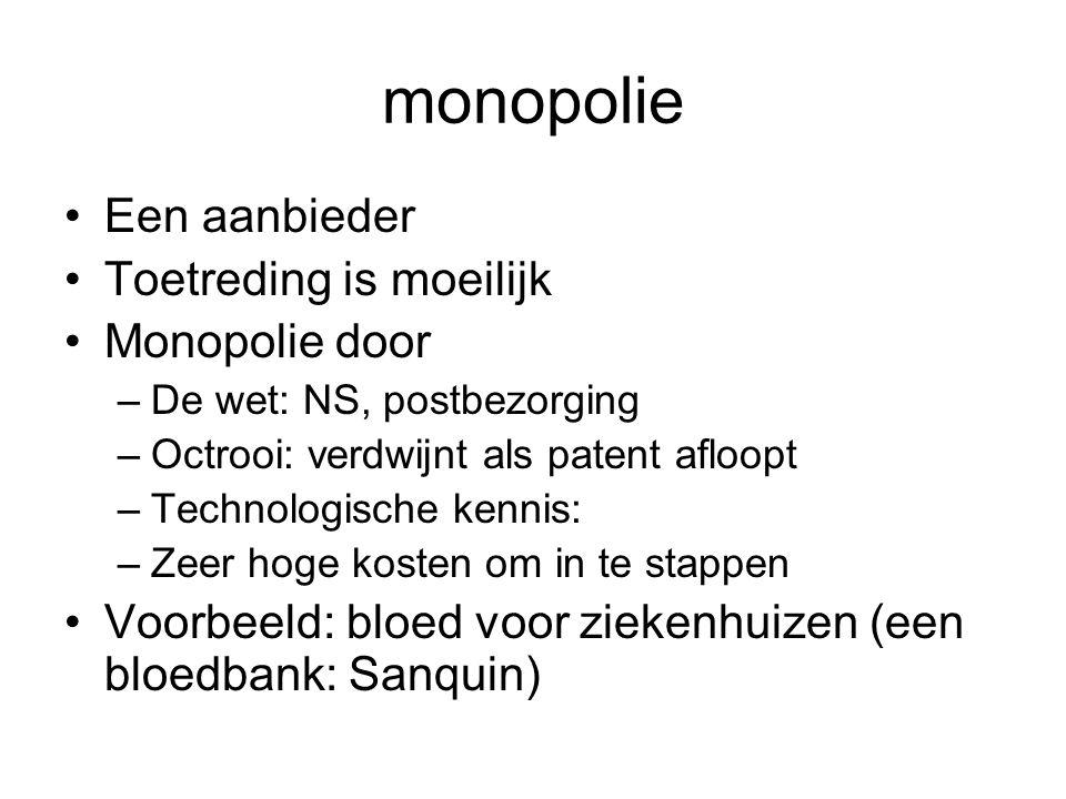 monopolie •Een aanbieder •Toetreding is moeilijk •Monopolie door –De wet: NS, postbezorging –Octrooi: verdwijnt als patent afloopt –Technologische ken