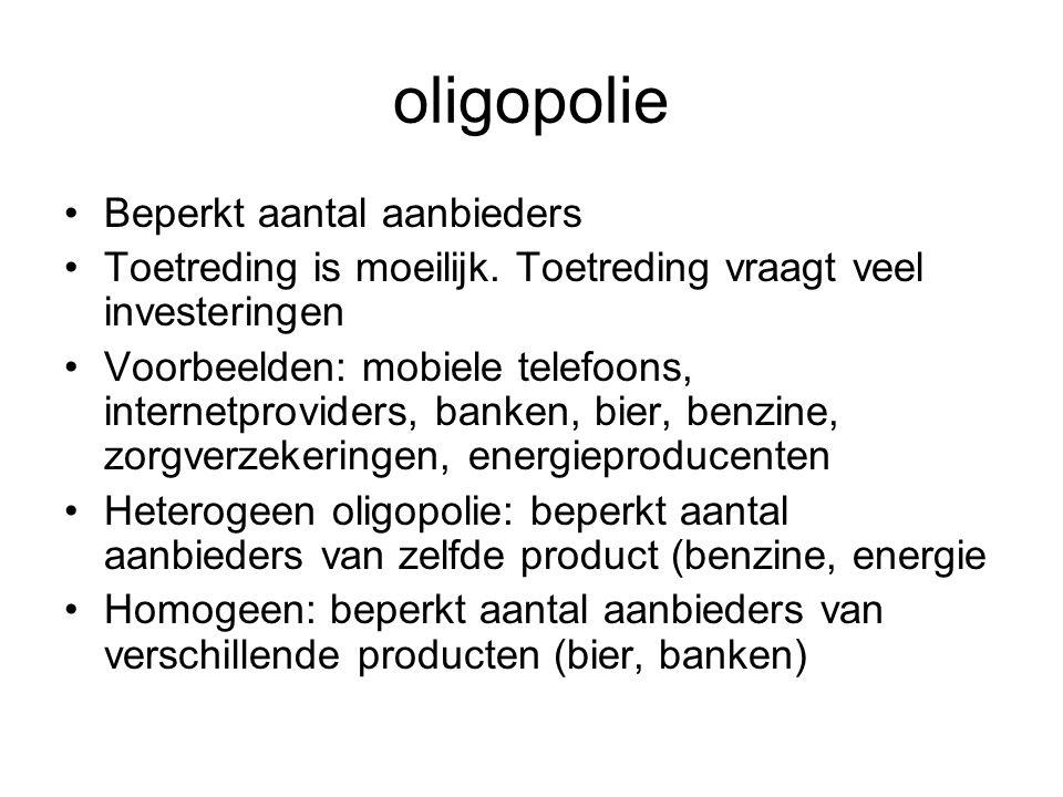 oligopolie •Beperkt aantal aanbieders •Toetreding is moeilijk. Toetreding vraagt veel investeringen •Voorbeelden: mobiele telefoons, internetproviders