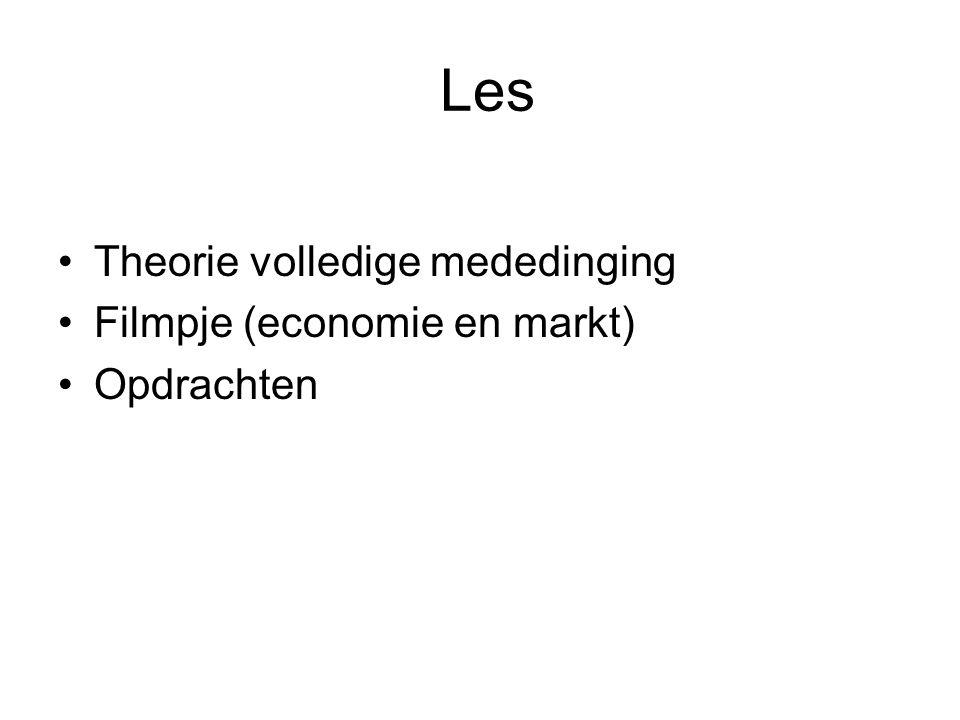 Les •Theorie volledige mededinging •Filmpje (economie en markt) •Opdrachten