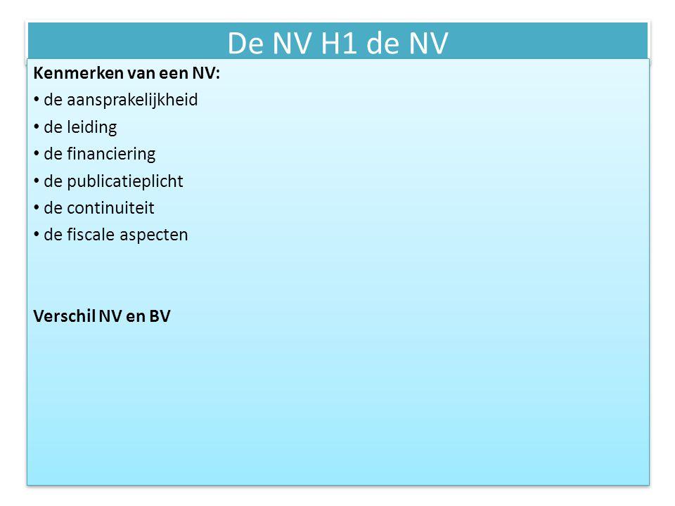 De NV H1 de NV Rechten/plichten m.b.t.