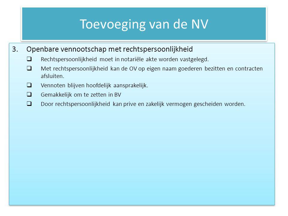 Toevoeging van de NV Hefboomeffect Vb: RTV = 10%; verschaffers van EV en VV ontvangen voor elke euro die ze in het bedrijf hebben gestoken, 10 eurocent beloning.