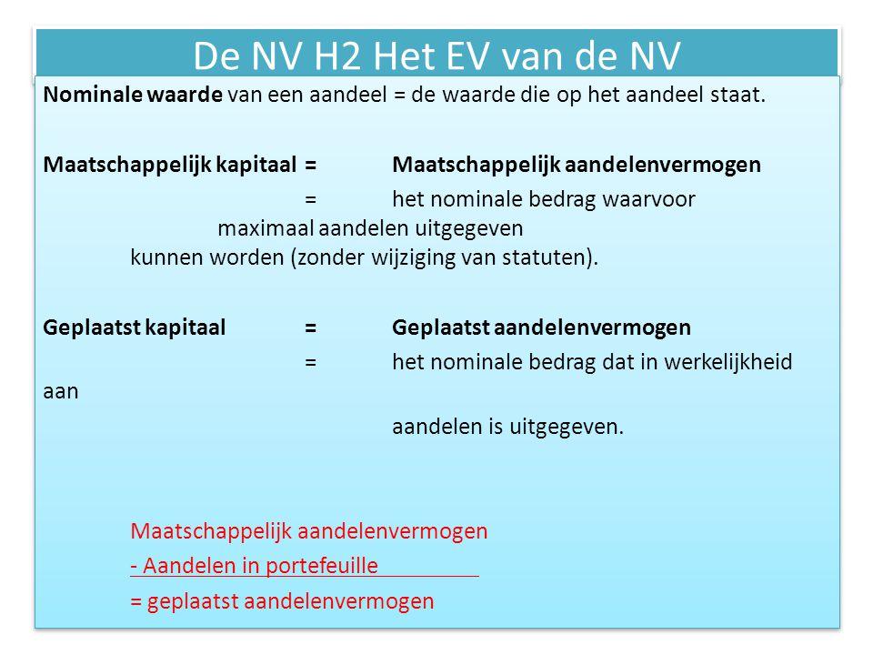 De NV H2 Het EV van de NV Het uitgeven van aandelen= emissie = het uitgeven van aandelen die in portefeuille zitten.
