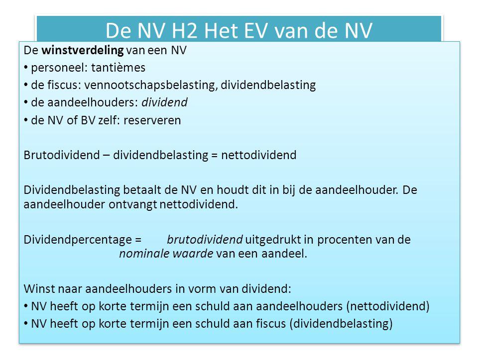De NV H2 Het EV van de NV Cash- en stockdividend Cashdividend: dividend in de vorm van geld uitgekeerd aan aandeelhouders.