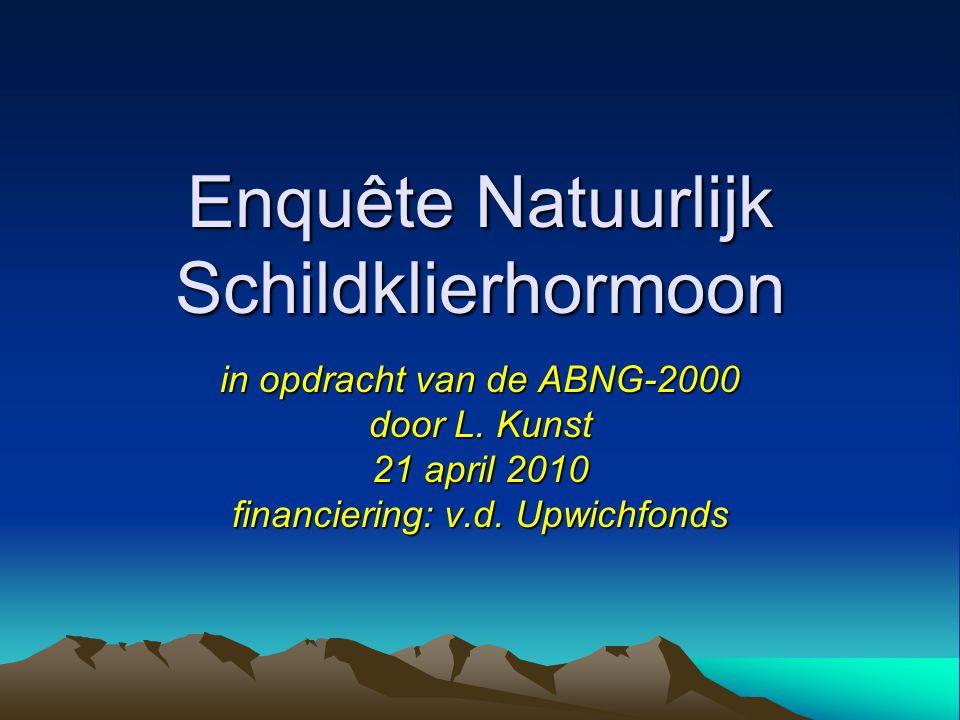 Enquête Natuurlijk Schildklierhormoon in opdracht van de ABNG-2000 door L. Kunst 21 april 2010 financiering: v.d. Upwichfonds