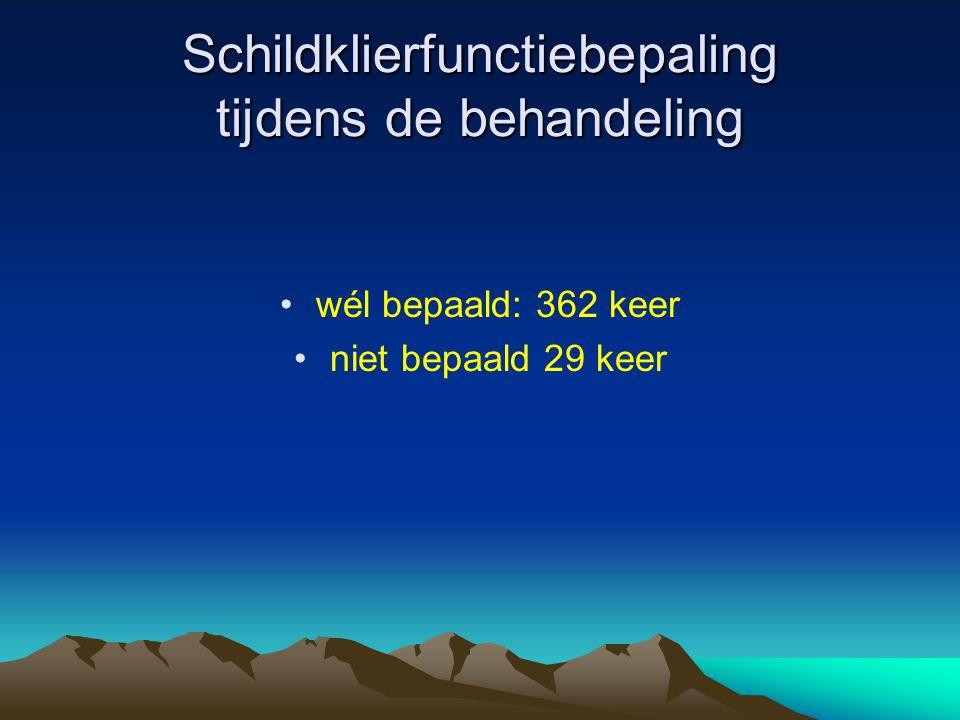 Schildklierfunctiebepaling tijdens de behandeling •wél bepaald: 362 keer •niet bepaald 29 keer
