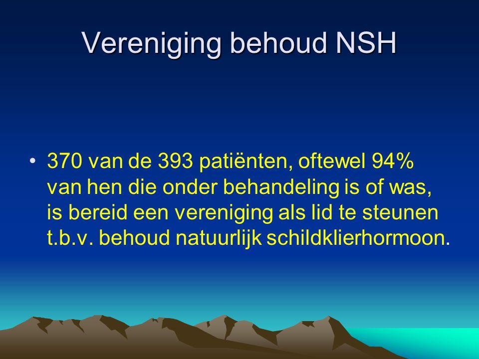 Vereniging behoud NSH •370 van de 393 patiënten, oftewel 94% van hen die onder behandeling is of was, is bereid een vereniging als lid te steunen t.b.