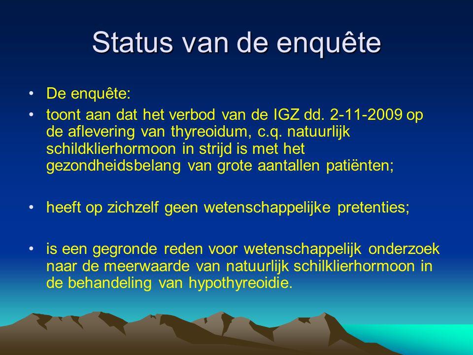 Status van de enquête •De enquête: •toont aan dat het verbod van de IGZ dd. 2-11-2009 op de aflevering van thyreoidum, c.q. natuurlijk schildklierhorm