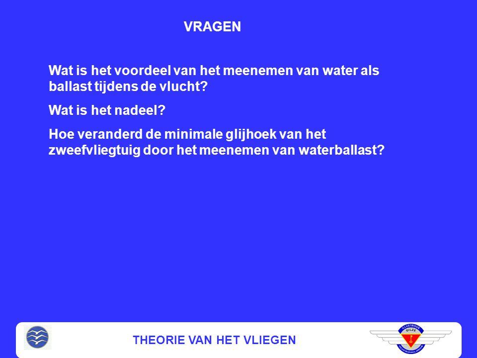 THEORIE VAN HET VLIEGEN Wat is het voordeel van het meenemen van water als ballast tijdens de vlucht? Wat is het nadeel? Hoe veranderd de minimale gli