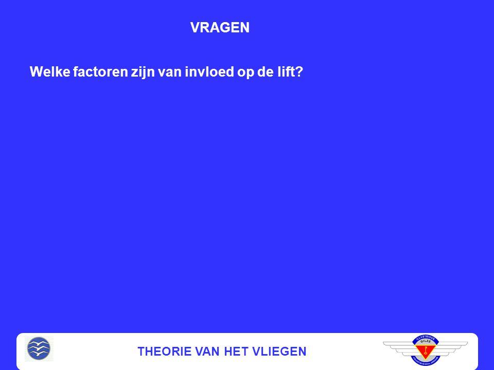 THEORIE VAN HET VLIEGEN Welke factoren zijn van invloed op de lift? VRAGEN