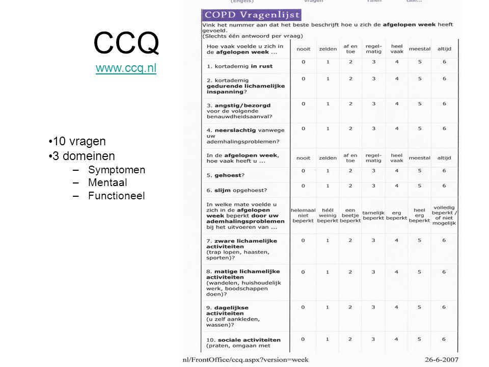2008 www.ccq.nl •10 vragen •3 domeinen –Symptomen –Mentaal –Functioneel