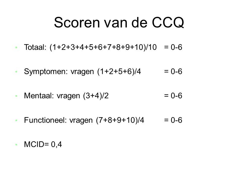 Scoren van de CCQ • Totaal: (1+2+3+4+5+6+7+8+9+10)/10 = 0-6 • Symptomen: vragen (1+2+5+6)/4 = 0-6 • Mentaal: vragen (3+4)/2 = 0-6 • Functioneel: vrage