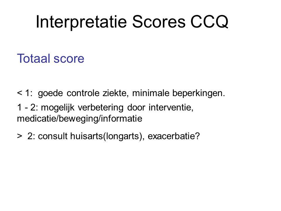 Interpretatie Scores CCQ Totaal score < 1: goede controle ziekte, minimale beperkingen. 1 - 2: mogelijk verbetering door interventie, medicatie/bewegi
