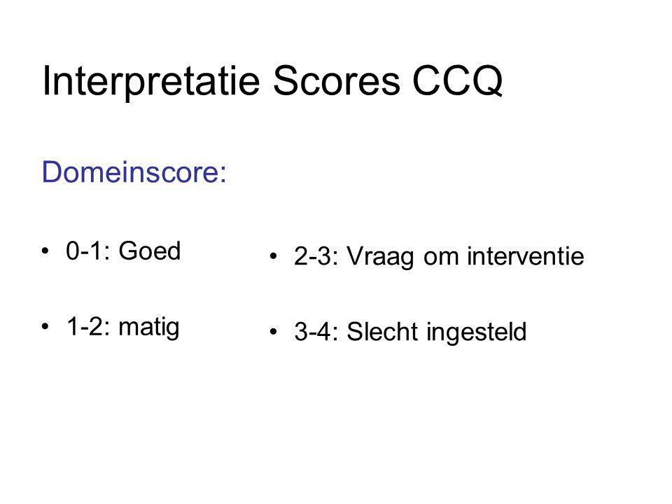 Interpretatie Scores CCQ Domeinscore: •0-1: Goed •1-2: matig •2-3: Vraag om interventie •3-4: Slecht ingesteld