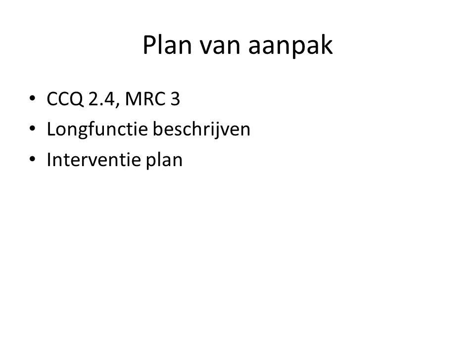Plan van aanpak • CCQ 2.4, MRC 3 • Longfunctie beschrijven • Interventie plan