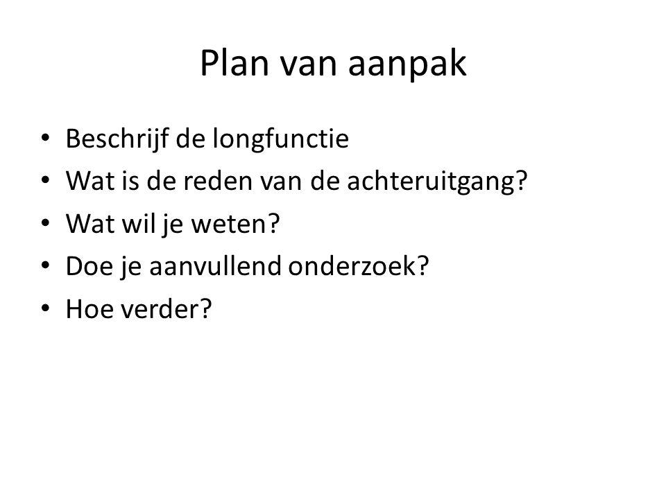 Plan van aanpak • Beschrijf de longfunctie • Wat is de reden van de achteruitgang? • Wat wil je weten? • Doe je aanvullend onderzoek? • Hoe verder?