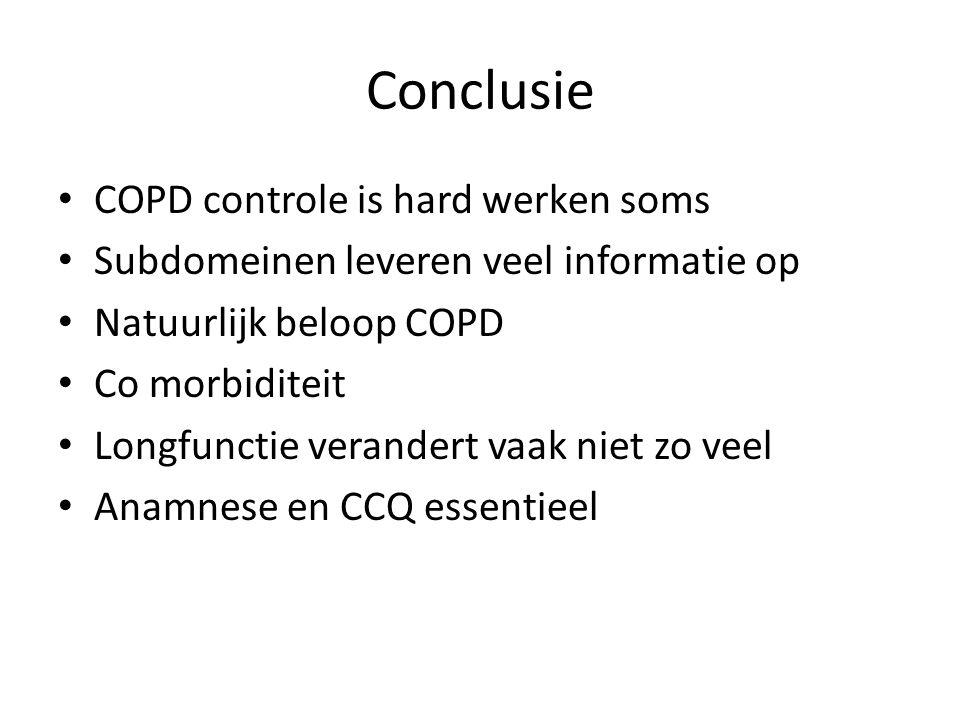 Conclusie • COPD controle is hard werken soms • Subdomeinen leveren veel informatie op • Natuurlijk beloop COPD • Co morbiditeit • Longfunctie verande