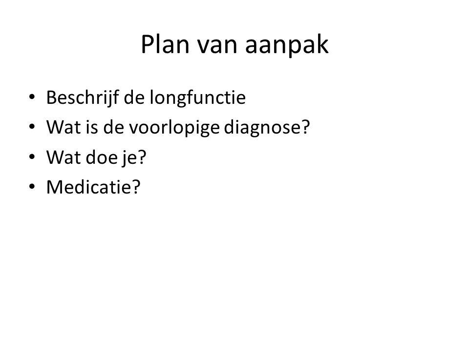 Plan van aanpak • Beschrijf de longfunctie • Wat is de voorlopige diagnose? • Wat doe je? • Medicatie?